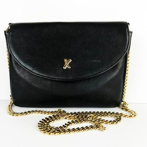 Vintage Paloma Picasso Black Leather Chain Bag